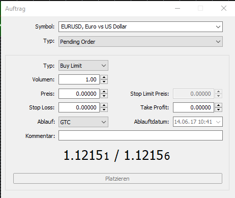 Screenshot: das Orderticket im MT5