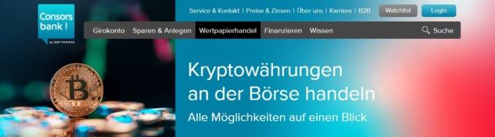 Krypto-Investments bei der Consorsbank