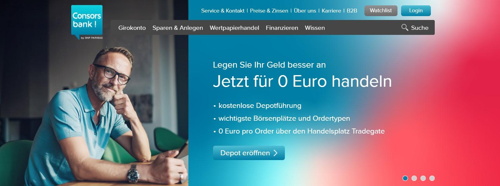 Bei der Consorsbank für 0 Euro Aktien handeln