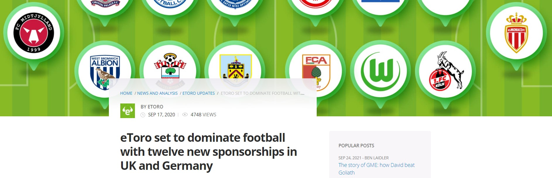 eToro neuer Sponsor von Arsenal London