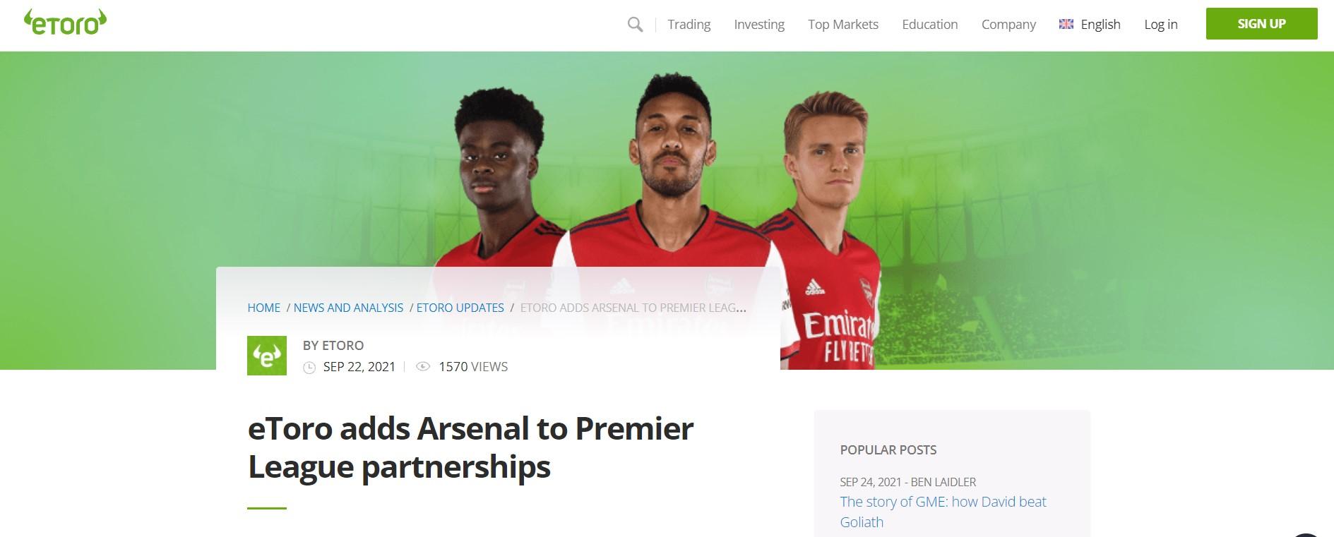 Etoro sponsert Arsenal London