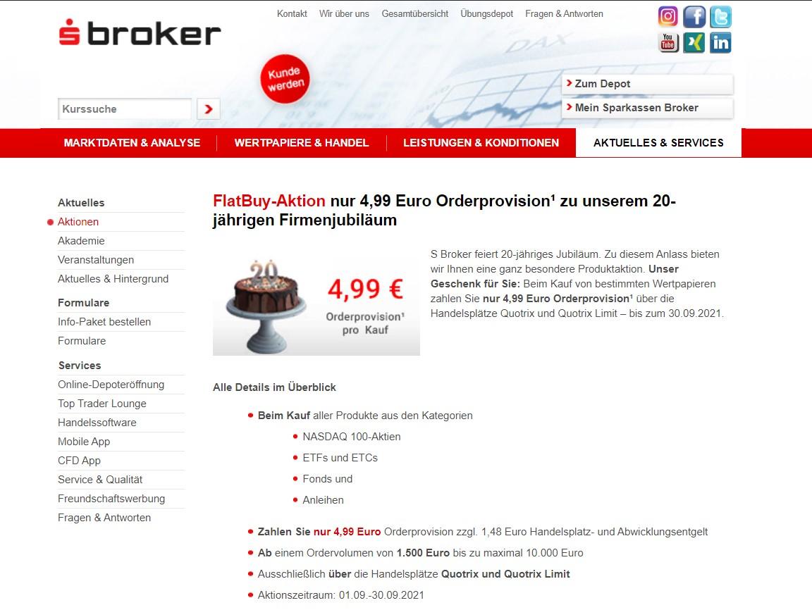 Flat-Buy-Aktion zum 20. Geburtstag des S Brokers